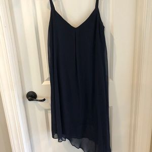 Navy cocktail dress.